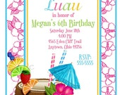 Luau Invitations , Coconut,  Hawaiian Luau, Personalized Invitations,Tropical Drink, Summer, Pool Party, Beach, Tropical, Birthday,