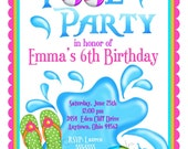 Pool Party Invitations, Personalized Invitations, Girl, Summer, Splash, Beach, Tropical, Flip flops, beach balls, Birthday, children