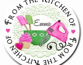 Kitchen stickers, Preppy Baking, Cupcake, baking labels, Mixing Bowls,  Baking, Cooking,  Gift Stickers, Baked Goods, Set of 12