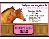 Horse Invitations, Horse Stable,  horse birthday party, Birthday, Party, Sticker, Return Address Label, Favor, Kids, Children
