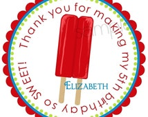 Ice Pops Stickers, Labels, Tags, Seals, Birthday, Favor, Cherry ...