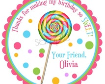 Lollipop Stickers, Sweet Shop Lollipop with Polkadots, HOT COLORS, Personalized stickers, labels, favor, Birthday, party, candy, set of 12