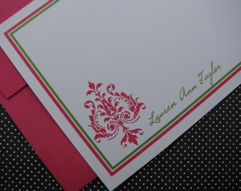 Damask Stationery, Damask Note cards, Damask, 6 colors to choose from, Gift, Birthday, Hostess, Housewarming, Card, Set of 12