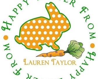 Easter Stickers, Easter Favors, Easter Bunny Stickers,Carrot Favors, Bunny, gift stickers, favor labels, Polka Dots, Labels, Seals,Set of 12