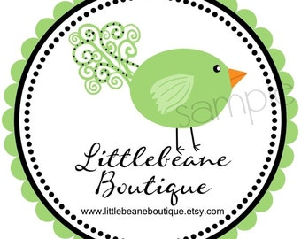 Personalized  Stickers, Swirly Bird, Labels, Tags, Seals,  Promotional, Favor,  Address Labels, Set of 12