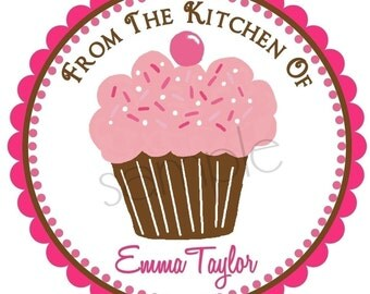 Personalized Stickers, Littlebeane Cupcake 2, Labels, Tags, Seals, Favor, Set of 12