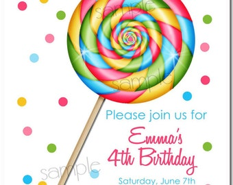 Lollipop Invitations, Sweet Shop Lollipop,Personalized Invitations, polka dots, Birthday, Children, girls, address labels, custom