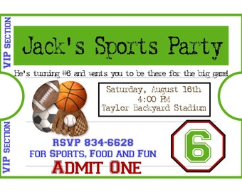 Personalized Sports Invitations, Football, Basketball, Soccer, Baseball, Birthday, Party, Stickers,Favor, Kids, Children