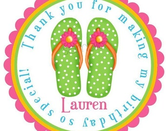 Flip Flop Stickers, Flip Flops, Pool party stickers,  Summer, Beach, Pool Party, Tropical, Birthday, Favor, Custom, Set of 12