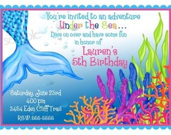 Mermaid Birthday Invitations, Mermaid birthday party, Under the Sea invitations, Ocean birthday, Birthday, Children, Kids, Personalized