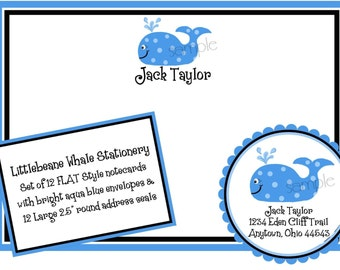 Whale Stationery, Whale Note cards, Greeting, Labels, Stickers, Address, Seal, Shower, Birthday, Set of 12