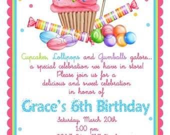 Sweet Shop Birthday party Invitations, Candy Cupcake invitations, Wonderland Sweet Shoppe, Cupcake, Candy, Lollipop, birthday party