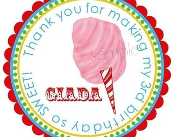Personalized Stickers, Cotton Candy, Labels, Seals, Birthday, Circus, Carnival, Candy, Favor, Set of 12