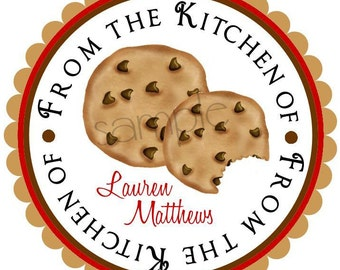 Personalized stickers, Chocolate Chip Cookies, Baking, cooking, hostess, housewwarming, kitchen,  favor, Labels, Seals, set of 12