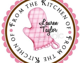Personalized Stickers, Littlebeane Oven Mitt, Kitchen, Cooking, Baking, Goodies, Treats, Labels, Tags, Seals, Favor, Set of 12