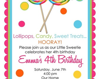 Lollipop invitations, Lollipop Birthday party, Candy invitations, Lollipop Invites, Sweet Shoppe, Sweet Shop
