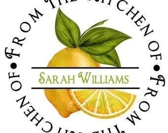 Lemon Kitchen Stickers,  Sweet Lemons, Personalized Stickers,Fruit, Seals, Baking, Cooking, Kitchen, Labels, Seals, Custom, Set of 12