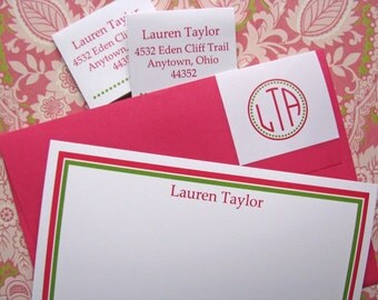 Formal Stationary, Personalized Notecards with colored envelopes and monogram address wraps, Set of 12