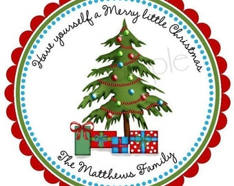 Personalized Christmas Stickers, Christmas Tree,Christmas labels,Holiday, favor labels,Gifts, Labels, set of 12