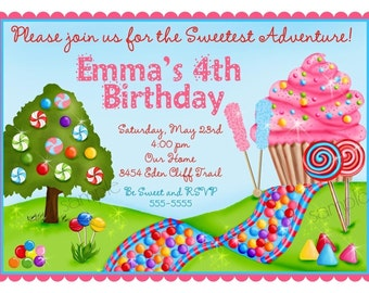 Oh Sweet Candyland Birthday Party Invitations, Cupcake, Oh Sweet Candy Land, Sweet Shoppe, Sweet Shop, Birthday, Children