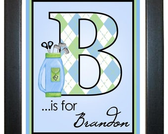 Golf  Wall Prints,, Golf Clubs, Golfing, Sports,  8 x 10, Wall Art, Illustration, Monogram, Children, Bedroom, Playroom, Artwork
