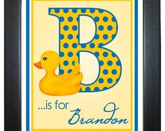 Rubber Ducky Wall Print, 8 x 10, Wall Art, Rubber Ducky, Duck, Illustration, custom, Name, Initial, Monogram, Children, Kids, Baby