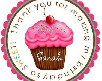 Cupcake Stickers, Sprinkly Cuppicakes, Cupcake, Personalized stickers, Birthday, favor, labels, Children, Kids, set of 12