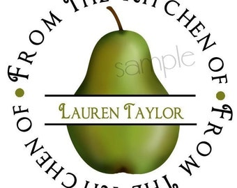 Pear kitchen Stickers, Pears, Pear, Fruit, Seals, Baking, Cooking, Kitchen, Canning,Labels, Seals, Custom, Set of 12