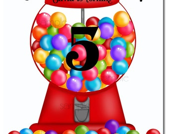 Candy Invitations, Gumball Machine invitations, Gumball Machine invites, Gumball machine party, Candy,Birthday, Children,girls,Boys