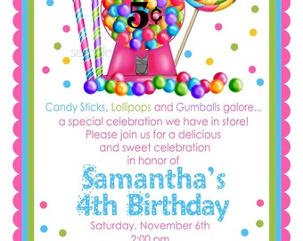 Gumball Machine Invitations, Gumball Machine,  NEW HOT COLORS,Candy Sweet Shoppe, Candy, Lollipop, Gumballs, polka dots, Birthday, Children