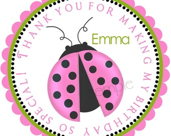 Pink Ladybug  Stickers, Personalized Stickers,  PINK , Bugs, insects, Gifts, Labels, Tags, Seals, Favor , set of 12