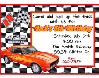 Race car Invitations, Racing invitations, Race Car, Car, Racing, Muscle Car, Hot Rod,Custom