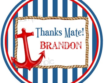 Nautical Stickers, anchor stickers,nautical Birthday Party,stripes, Navy, red, Sailboat, Labels,Baby Shower, Wedding, Nautcial favors