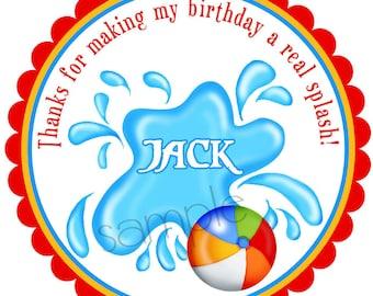 Pool Party Stickers, Pool Birthday party, boy, Summer, Beach, Tropical, Birthday, Favor, Custom, Set of 12