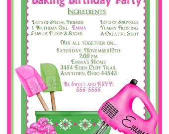 Baking Birthday Party Invitations, Preppy Baking, kitchen invitations, Cupcake, Cookie, Heart, Children, Little girl, Cooking