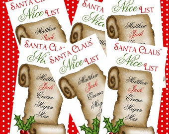 Personalized Christmas Stickers, Santas Nice List,  Santa Claus stickers, Christmas, Holiday, Labels, Gift Stickers, set of 12