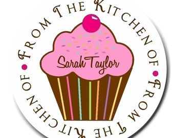 Cupcake Stickers, Kitchen stickers, Baking labels, Littlebeane Cupcake, Sprinkles, Baking, Cooking, Favor, Birthday, Labels, set of 12