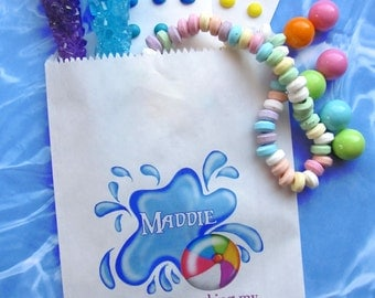 Pool Party, Personalized Candy Bags, Pool party Favor bags, pool party favors,Candy Buffet, Birthday party, Sweets, Treats