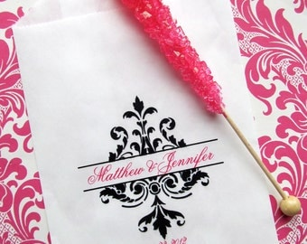 Damask Candy Bags, Damask favor bags, Wedding Favor bags, Candy Buffet bags, candy buffet favor bags, Wedding, Bridal Shower,CUSTOM COLORS