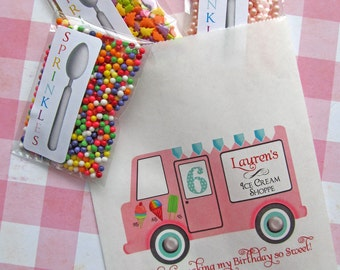 Ice Cream Birthday Party, Personalized Candy Bags, Ice Cream Favor bags, Ice cream parlor, Candy Buffet bags, Birthday party, Treat bags