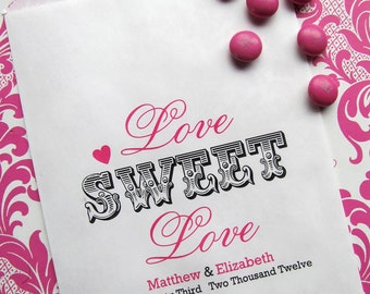 Wedding Candy favor Bags, Love Sweet Love favor bags, Bridal Shower Favor bags, Candy Buffet favor bags, Wedding, Bridal Shower,CUSTOM COLOR