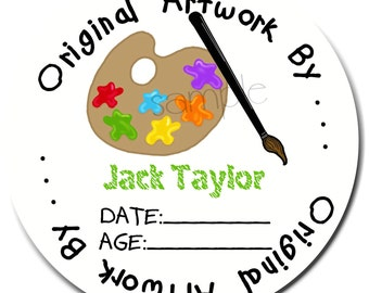 Art Stickers, Paint Pallette stickers , Personalized stickers, Childrens artwork, Labels, Tags, Seals, Gift, set of 12