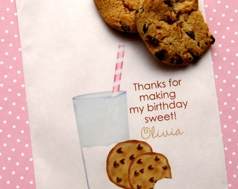 Cookies and Milk Birthday Party, Milk and cookies Favor bags,  Cookie treat bags, Cookie favors, Candy Buffet, Birthday party, Sweets,Treats