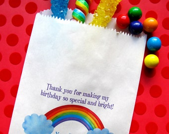 Rainbow Birthday Party, Rainbow Favor bags,  Rainbow birthday favors, candy bags, Candy Buffet, Birthday party, Sweets, Treats