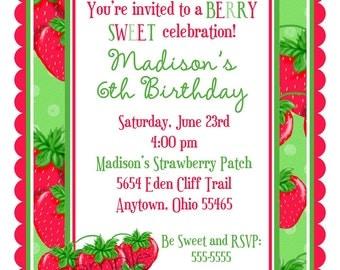 Strawberry invitations, Strawberry Birthday party, Personalized Invitations, Birthday Party, Girl, Party, Favor Stickers