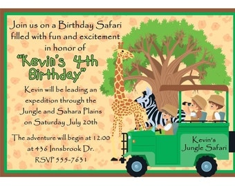 Personalized Birthday Invitations, Jungle, Safari, Giraffe, Zebra, Personalized Safari Jeep