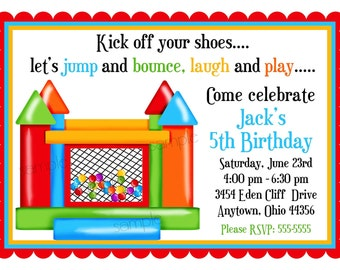 Bouncy House invitations,  Bounce House, Ball Pit Invitations, Boy, Personalized Invitations, Birthday Party, Favor Stickers, address labels