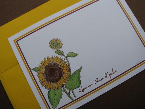 Personalized Stationery, Notecards, Sunflower, Flowers, Floral,  Yellow, Gift, Birthday, Hostess, Housewarming, Card, Set of 12