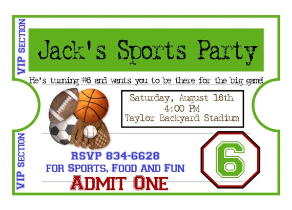 Personalized Sports Invitations Football Basketball Soccer – Sport Birthday Invitations