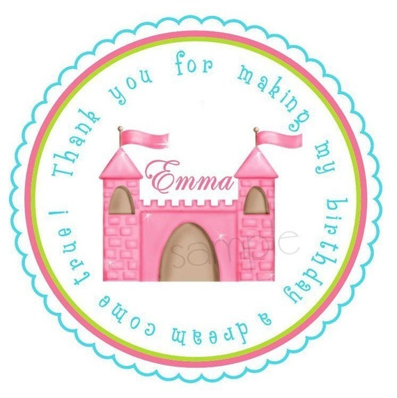 Princess Castle Stickers, Princess, Castle, Birthday party,  Fairy,  Party, Birthday, Children,  Favor, Tags, Labels